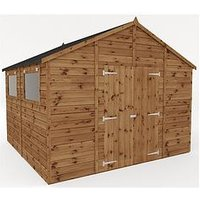 Product photograph showing Mercia 10 X 10 Ft Premium Pressure Treated Shiplap Workshop Shed With Double Doors