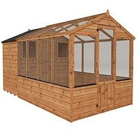 Product photograph showing Mercia 12x6 Shiplap Dip Treated Combi Shed Greenhouse