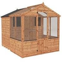Product photograph showing Mercia 8x6 Shiplap Dip Treated Combi Shed Greenhouse