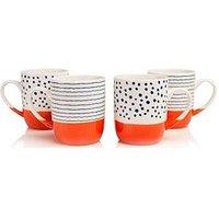 Product photograph showing Sabichi Tangerine Bone China Set Of 4 Mugs