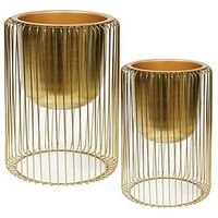 Product photograph showing Hestia Set Of 2 Gold Finish Metal Planters