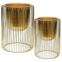 Product photograph showing Hestia Hestia Set Of 2 Gold Finish Metal Planters