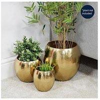 Product photograph showing Hestia Hestia Set Of 3 Gold Finish Metal Planters