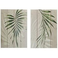 Product photograph showing Graham Brown Set 2 Peaceful Palms On Wood