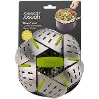 Product photograph showing Joseph Joseph Bloom Steel Folding Steamer Basket