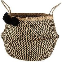 Product photograph showing Premier Housewares Seagrass Basket With Pom Poms