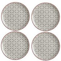 Product photograph showing Maxwell Williams Boho Batik Grey Plate - Set Of 4