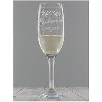 Product photograph showing Personalised Wedding Botanical Flute Glass