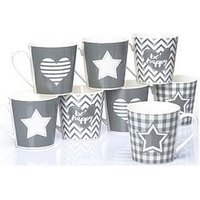 Product photograph showing Waterside Set Of 8 Grey Star And Heart Mugs
