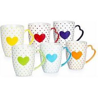 Product photograph showing Waterside Set Of 6 Heart Mugs With Heart Handles