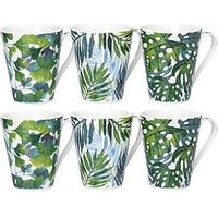 Product photograph showing Waterside Set Of 6 Leaf Mugs