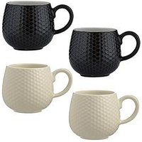 Product photograph showing Mason Cash Set Of 4 Embossed Honeycomb Mugs