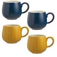 Product photograph showing Mason Cash Set Of 4 Embossed Chevron Mugs