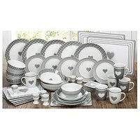 Product photograph showing Waterside Grey Heart 56-piece Dinner Set