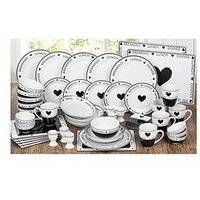 Product photograph showing Waterside Made With Love Script 56-piece Dinner Set
