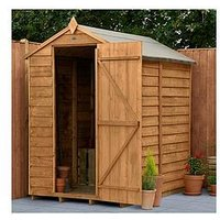 Product photograph showing Forest 6x4 Value Dip Treated Overlap Windowless Apex Shed - Shed Only