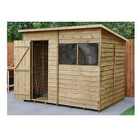 Product photograph showing Forest 8x6 Overlap Pressure Treated Pent Shed With Optional Installation - Shed Only