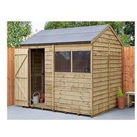 Product photograph showing Forest 8x6 Overlap Pressure Treated Reverse Apex Shed With Optional Installation - Shed Only