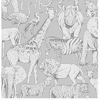 Product photograph showing Superfresco Easy Jungle Animals Grey Wallpaper