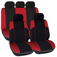 Product photograph showing Streetwize Accessories Arizona Polyester 11 Pce Seat Cover Set With Zips In Red