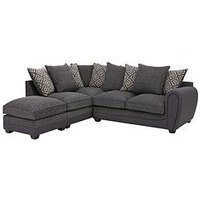 Product photograph showing Harrison Compact Fabric Left Hand Corner Chaise Scatter Back Sofa With Footstool