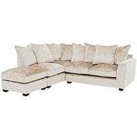 Product photograph showing Glitz Fabric Left Hand Corner Group Scatter Back Sofa - Champagne