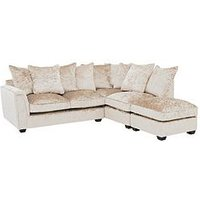 Product photograph showing Glitz Fabric Right Hand Corner Group Scatter Back Sofa - Champagne