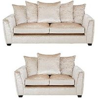 Product photograph showing Glitz 3 Seater 2 Seater Fabric Scatter Back Sofa - Champagne Buy And Save