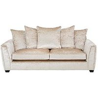 Product photograph showing Glitz Fabric 3 Seater Scatter Back Sofa - Champagne
