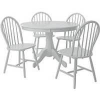 Product photograph showing Ace 106 Cm Round Dining Table With 4 Daisy Chairs - White