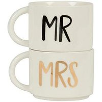 Product photograph showing Sass Belle Mr Mrs Stacking Mugs Set Of 2