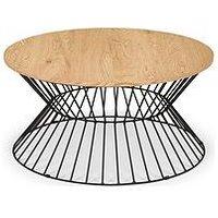 Product photograph showing Julian Bowen Jersey Round Wire Coffee Table - Oak Effect Black Metal