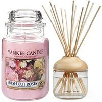 Product photograph showing Yankee Candle Fresh Cut Roses Large Jar Candle And Reed Diffuser Bundle