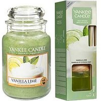 Product photograph showing Yankee Candle Vanilla Lime Large Jar Candle And Reed Diffuser Set