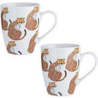 Product photograph showing Price Kensington Set Of 2 Cheetah Mugs