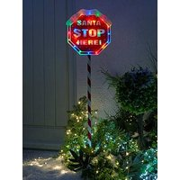 Product photograph showing Festive Indoor Outdoor 110 Cm Santa Stop Here Sign With Multi Coloured Lights