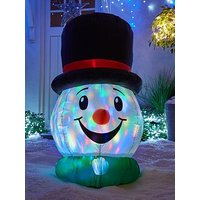Product photograph showing Festive 100 Cm Inflatable Snowman Head With Light Show Outdoor Christmas Decoration