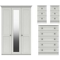 Product photograph showing Harris 4 Piece Part Assembled Package 3 Door Mirrored Wardrobe 5 Drawer Chest And 2 Bedside Chests