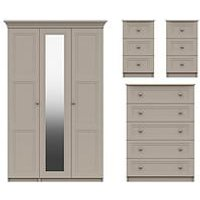 Product photograph showing Reid 4 Piece Part Assembled Package - 3 Door Mirrored Wardrobe 5 Drawer Chest And 2 Bedside Cabinets