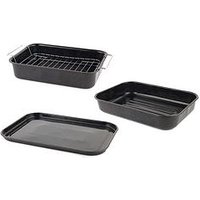 Product photograph showing Russell Hobbs Romano Vitreous Enamel Roaster Baking Tray And Self-basting Roaster
