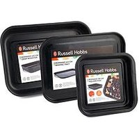 Product photograph showing Russell Hobbs Romano Vitreous Enamel Square Baking Pan Baking Tray And Deep Roaster