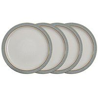 Product photograph showing Denby Elements Light Grey Speckle Dinner Plates Ndash Set Of 4