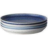 Product photograph showing Denby Studio Blue 4-piece Coupe Dinner Plate Set