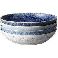 Product photograph showing Denby Studio Blue 4-piece Pasta Bowl Set