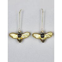 Product photograph showing Sass Belle Set Of 2 Glass Bee Christmas Tree Decorations