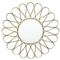 Product photograph showing Pacific Lifestyle Antique Gold Metal Petal Round Wall Mirror