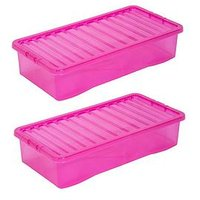 Product photograph showing Wham Set Of 3 Pink Plastic Crystal Underbed Storage Boxes