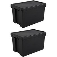 Product photograph showing Wham Set Of 2 Heavy Duty Recycled Plastic Storage Boxes Ndash 62 Litres Each