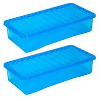 Product photograph showing Wham Set Of 3 Blue Plastic Crystal Underbed Storage Boxes - 42 Litres