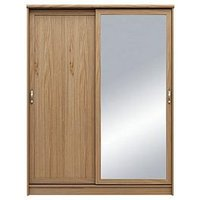 Product photograph showing Camberley 2 Door Mirrored Sliding Wardrobe - Oak Effect